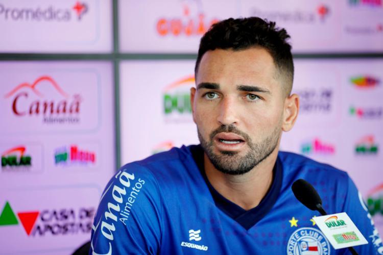 Atacante disse não ter recebido proposta para deixar o clube - Foto: Felipe Oliveira   EC Bahia