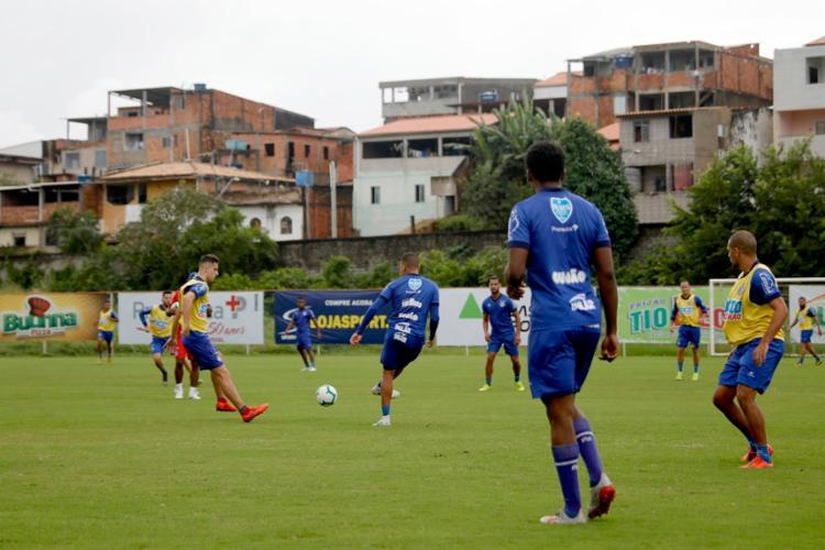 Na atividade, Roger escalou a possível equipe titular - Foto: Felipe Oliveira   EC Bahia