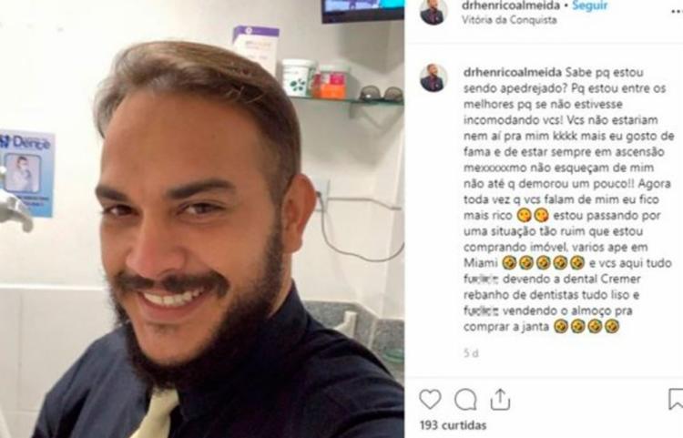 Estudante não podia exercer a profissão, mas publicava diversas fotos atuando como dentista - Foto: Reprodução | Instagram