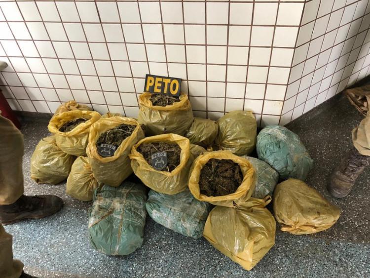 A droga estava dividida em 21 sacos e acondicionada em quatro tonéis - Foto: Divulgação   SSP