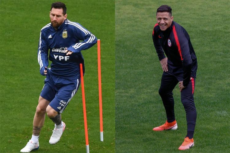 Messi tenta recolocar os argentinos no rumo das conquistas; Alexis Sánchez caminha para o adeus de uma seleção que deixará saudade aos chilenos - Foto: AFP