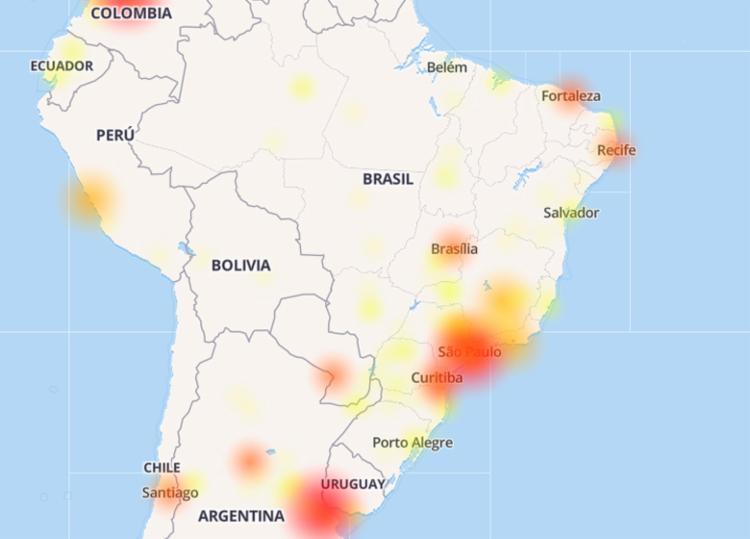 Mapa da Down Detector aponta as regiões mais afetadas no Brasil