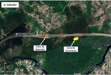 Via Metropolitana é interditada para remoção de caminhão   Divulgação I Concessionária Bahia Norte