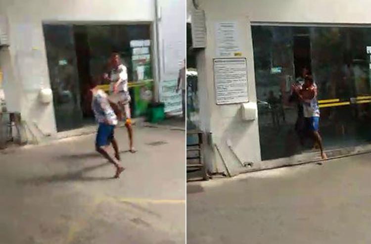 Um popular chegou a registrar toda a ação dos criminosos com o celular (Foto: Reprodução)