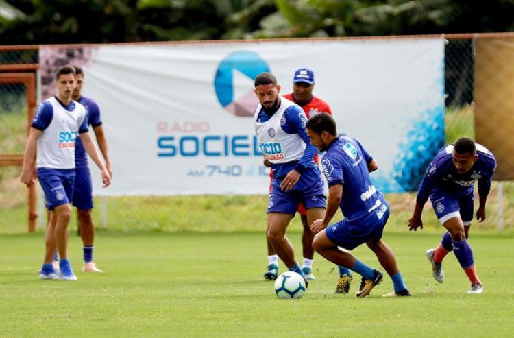 Atletas que atuaram menos de 45 minutos contra o Flamengo participaram de coletivo - Foto: Felipe Oliveira   EC Bahia