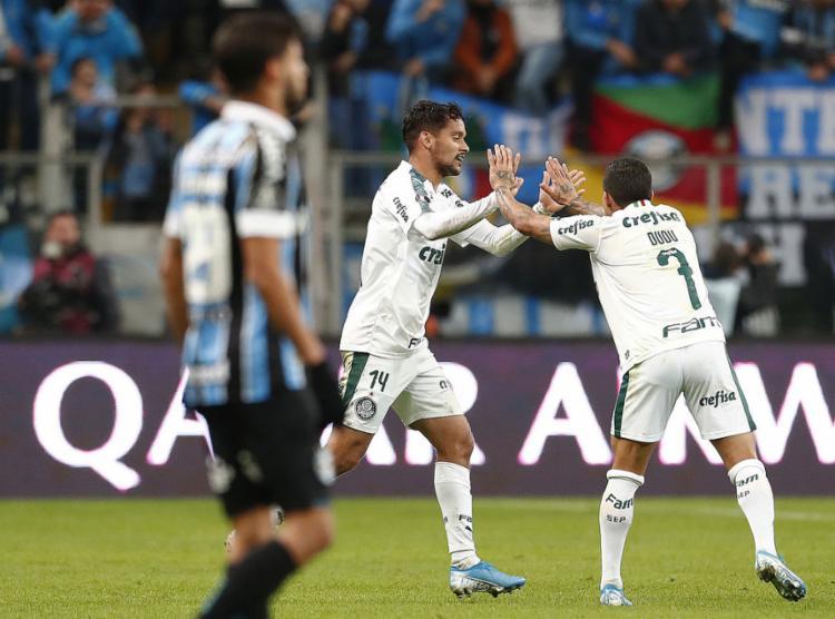 Na Arena do Grêmio, Palmeiras vence por 1 a 0 pela ida das quartas de final - Foto: Itamar Aguiar l AFP