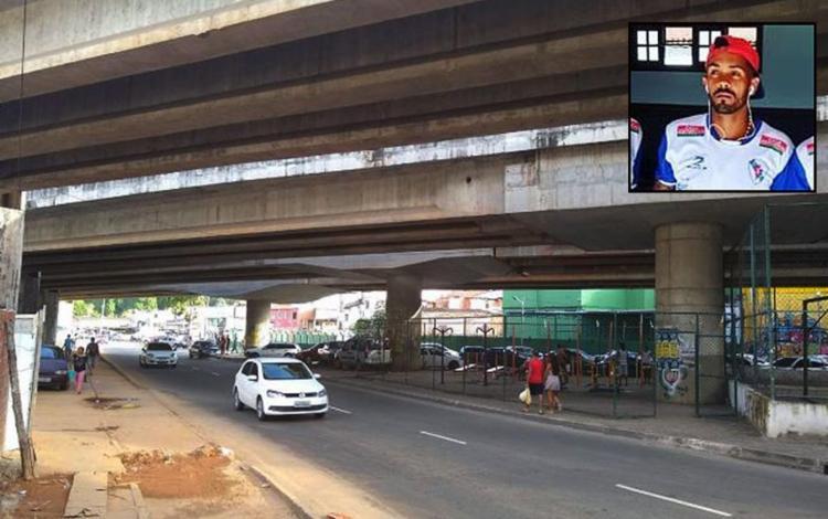 Ítalo tentou fugir a pé dos bandidos e foi alcançado próximo a um viaduto - Foto: Leo Moreira l Ag. A TARDE e Reprodução