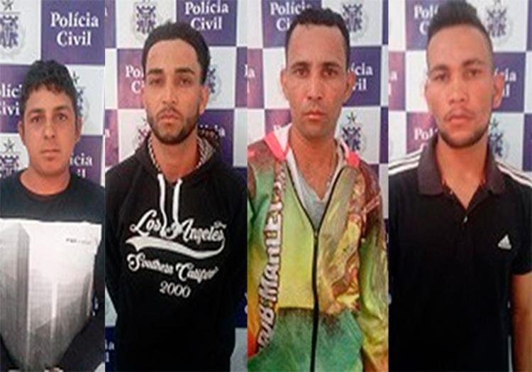 O quarteto tinha mandados de prisão em aberto - Foto: Divulgação | Polícia Civil
