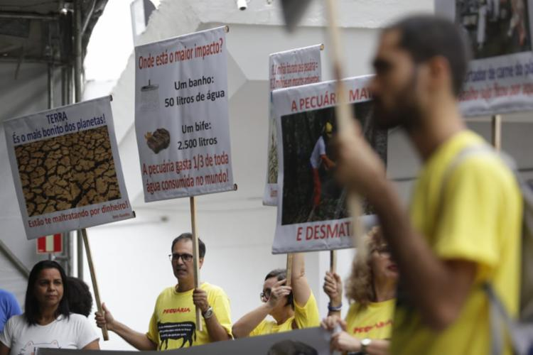 Pessoas protestam contra a pecuária