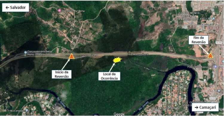 Via no sentido BA-099 está bloqueada - Foto: Divulgação I Concessionária Bahia Norte