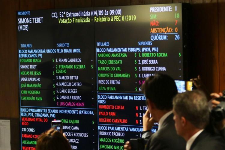 Votação na Comissão de Constituição e Justiça (CCJ) foi primeiro teste no Senado - Foto: Fabio Rodrigues Pozzebom l Agência Brasil