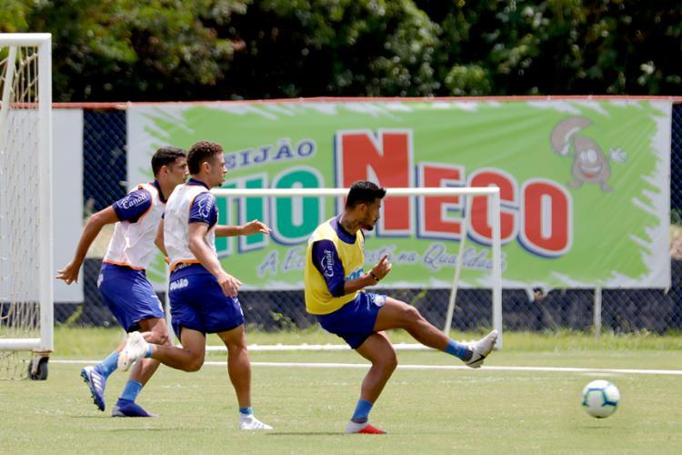 Rogério treinou normalmente e pode ser opção para o duelo contra a equipe catarinense. - Foto: Felipe Oliveira | EC Bahia