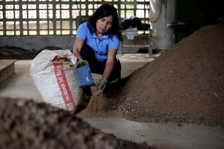 A betoneira e os trituradores usados na produção do fertilizante foram comprados pela professora Zênis
