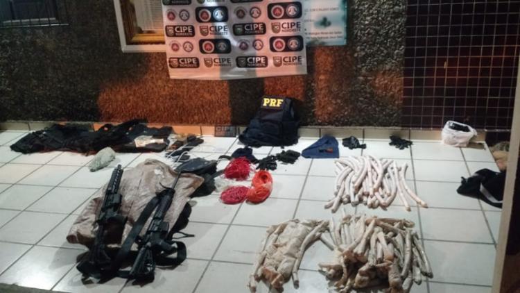 Também foram encontradas munições, espoletas e cordel detonante - Foto: Divulgação | SSP