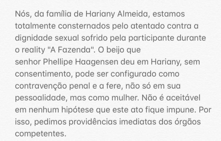 Nota oficial publicada pela equipe de Hariany no Twitter