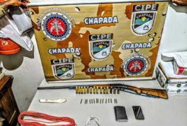 Armamento e explosivos são apreendidos com suspeito na região da Chapada | Divulgação | SSP