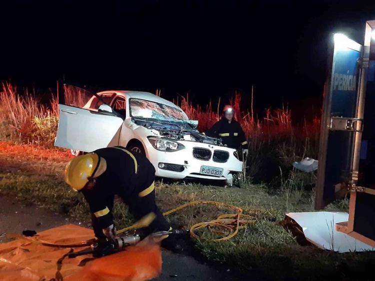 Além dele, outras duas pessoas, que também estavam no veículo menor, ficaram feridas - Foto: Reprodução | Blitz Conquista
