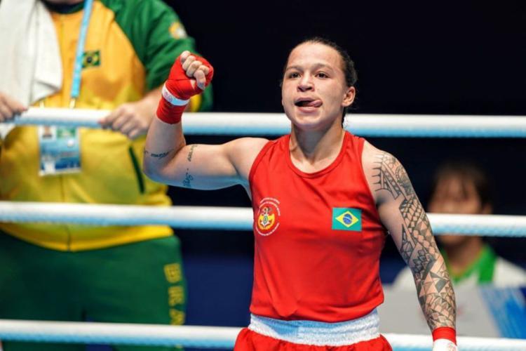 A pugilista baiana conquistou a primeira medalha do boxe brasileiro nesta edição dos Jogos Mundiais Militares - Foto: Rodolfo Vilela   Ministério da Cidadania