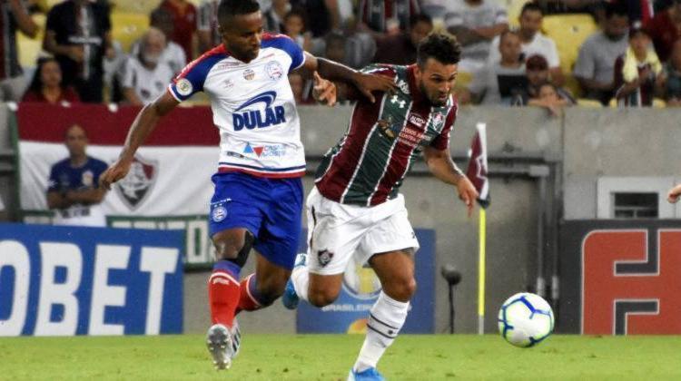 Tricolor baiano sentiu dificuldades na marcação e cedeu o triunfo para o Flu - Foto: Fluminense F.C   Divulgação