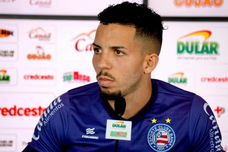 Durante a entrevista, Flávio foi perguntado se a postura do time diante do Vozão, na última rodada, teria sido de menosprezo - Foto: Felipe Oliveira | EC Bahia
