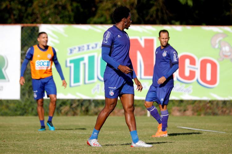 O lateral participou pela primeira vez do treino com o restante do elenco nesta quinta-feira, 24 - Foto: Felipe Oliveira | EC Bahia