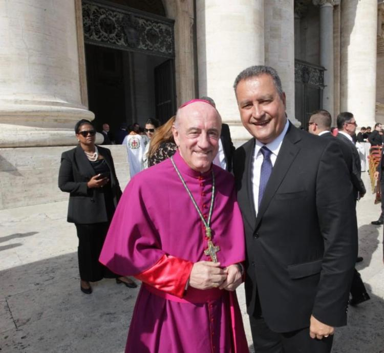 Rui Costa esteve com Dom Murilo Krieger na cerimônia de canonização