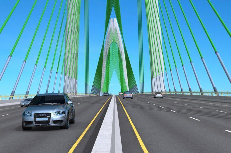 Projeção do miolo da ponte, com 450 metros de largura - Foto: Divulgação l Ascom SDE