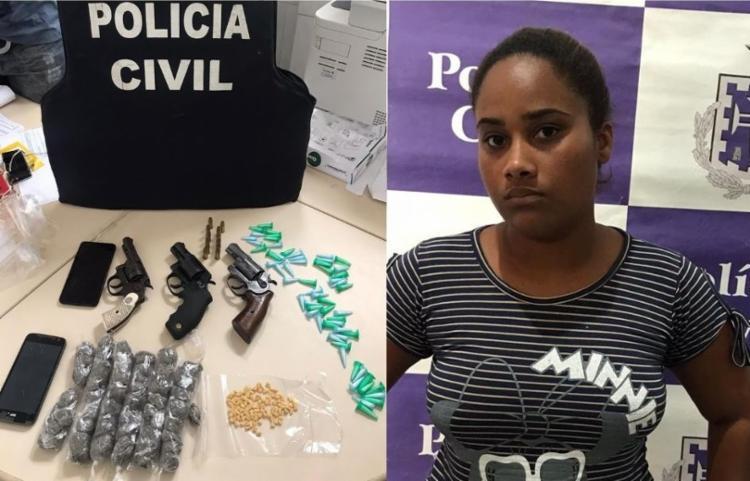 Aislane da Conceição Alves, de 26 anos, foi presa em flagrante durante operação - Foto: Divulgação/SSP