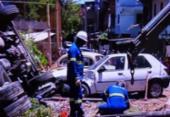 Caminhão tomba em campo do Bariri | Foto: Reprodução | TV Bahia
