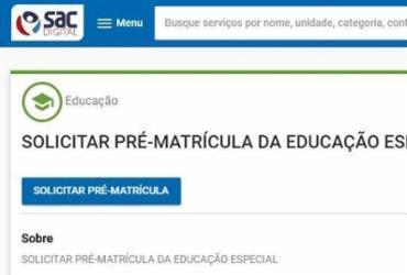 Pré-matrícula para rede estadual de ensino está disponível pela internet | Reprodução | SAC