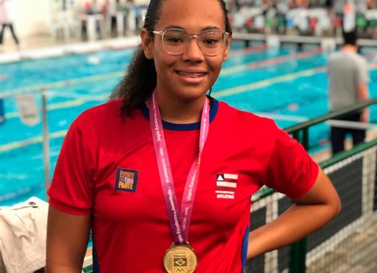 Celine Bispo conquistou o ouro e o novo recorde da prova de 50 M livre | Foto: Divulgação | Sudesb - Foto: Divulgação | Sudesb
