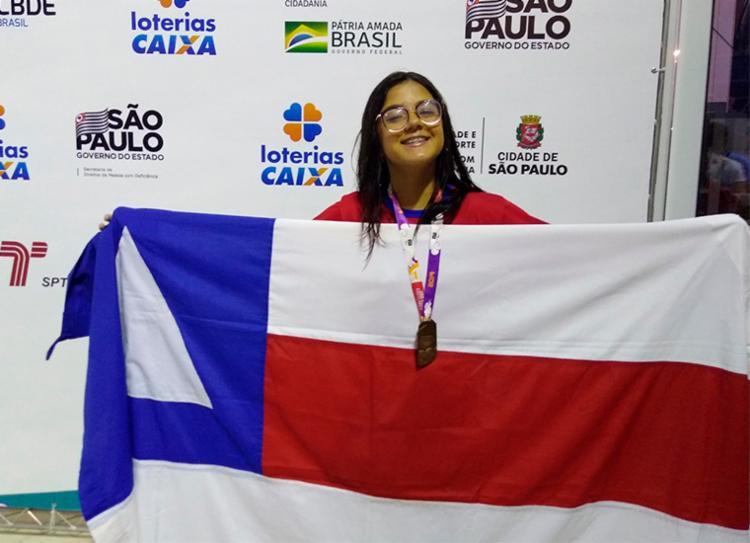 Bárbara Britto faturou o bronze na prova de natação na modalidade 50 metros costa | Foto: Hilda Fausto | Sudesb - Foto: Hilda Fausto | Sudesb
