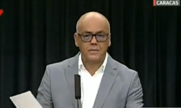 Acusação foi do ministro das Comunicações venezuelano, Jorge Rodríguez | Reprodução | Twitter | VicepresidenciaVenezuela - Foto: Reprodução | Twitter | VicepresidenciaVenezuela