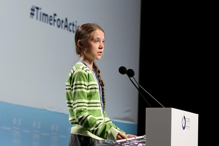 Personalidade do ano, segundo a revista Time, Greta Thunberg discursa na COP25 - Foto: Cristina Quicler/AFP