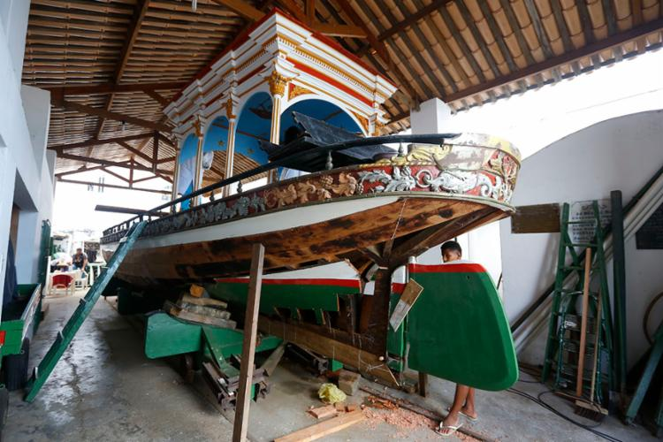 Galeota foi impedida de ir ao mar, pela primeira vez em 2018   Foto: Rafael Martins   Ag. A TARDE - Foto: Rafael Martins   Ag. A TARDE