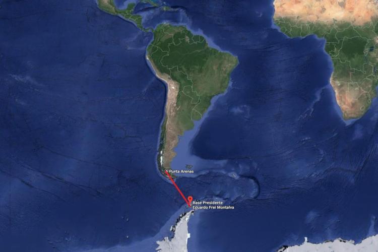 As partes da aeronave estavam a 518 km de Ushuaia, na Argentina | Foto: Divulgação | Google Maps - Foto: Divulgação | Google Maps