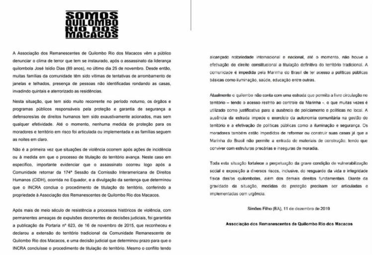Nota pública foi publicada nas redes sociais | Foto: Divulgação