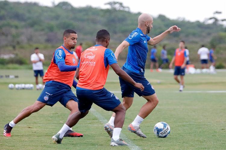 O elenco Tricolor participou de um trabalho intenso com foco na partida deste sábado, 25   Foto: Felipe Oliveira   EC Bahia - Foto: Felipe Oliveira   EC Bahia