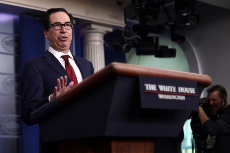 Mnuchin disse que autoridades e empresas foram alvo de sanções em resposta a ataques balísticos iranianos | Foto: Alex Wong | AFP - Foto: Alex Wong | AFP