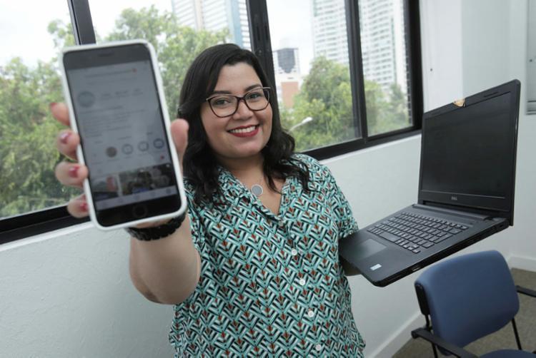 Larissa é gestora de mídias sociais, há 9 anos | Foto: Uendel Galter | Ag. A TARDE