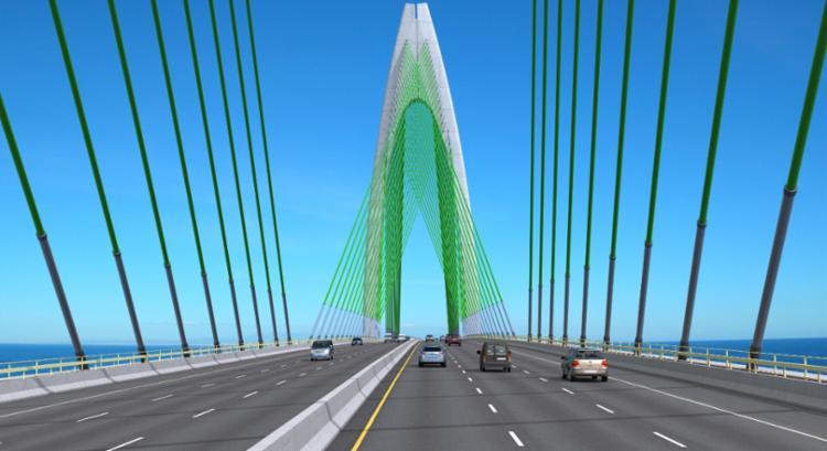A gestão e administração da ponte terá duração de 30 anos, com um investimento de R$ 5,4 bilhões, sendo que o aporte do Estado será de R$ 1,5 bilhão. - Foto: Divulgação