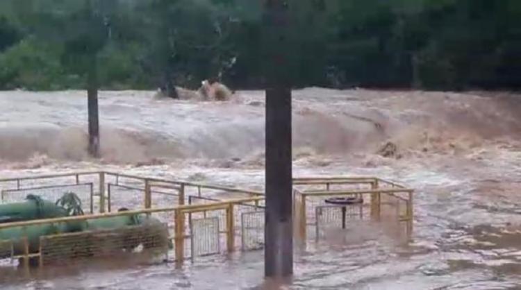 Chuva causou uma inundação de cinco metros   Foto: Reprodução   Saneago - Foto: Reprodução   Saneago