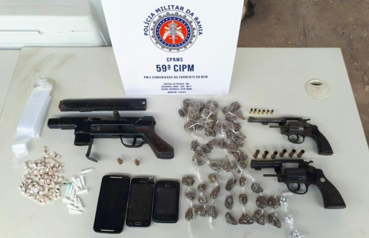 Armas, drogas e celulares foram encontradas na ação | Divulgação | SSP - Foto: Divulgação | SSP