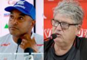Roger e Geninho falam sobre expectativas para o clássico Ba-Vi | Foto: Felipe Oliveira | EC Bahia e Luciano da Matta | Ag. A TARDE
