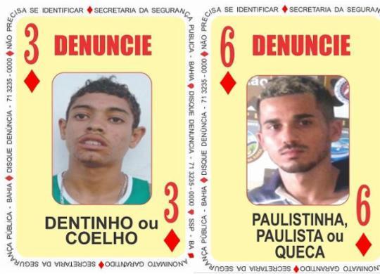 Foragidos da Justiça, 'Queca' e 'Coelho passam a integrar o Baralho do Crime | Divulgação