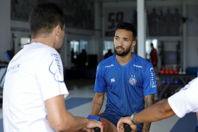A avaliação clínica do atacante não apontou lesão | Foto: Felipe Oliveira | EC Bahia - Foto: Felipe Oliveira | EC Bahia