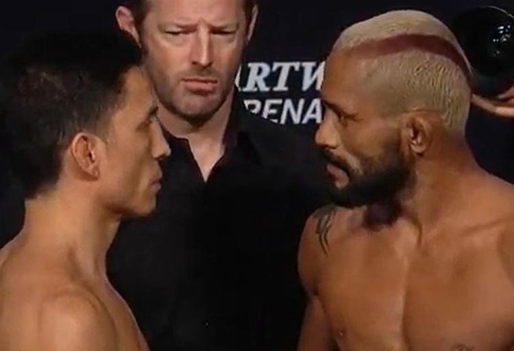 Joseph Benavidez e Deiveson Figueiredo durante a tradicional encarada | Foto: Reprodução | UFC - Foto: Reprodução | UFC