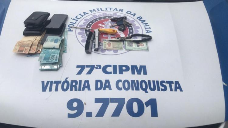 Os suspeitos e os materiais foram levados para a delegacia de Conquista | Foto: Divulgação | SSP - Foto: Divulgação | SSP