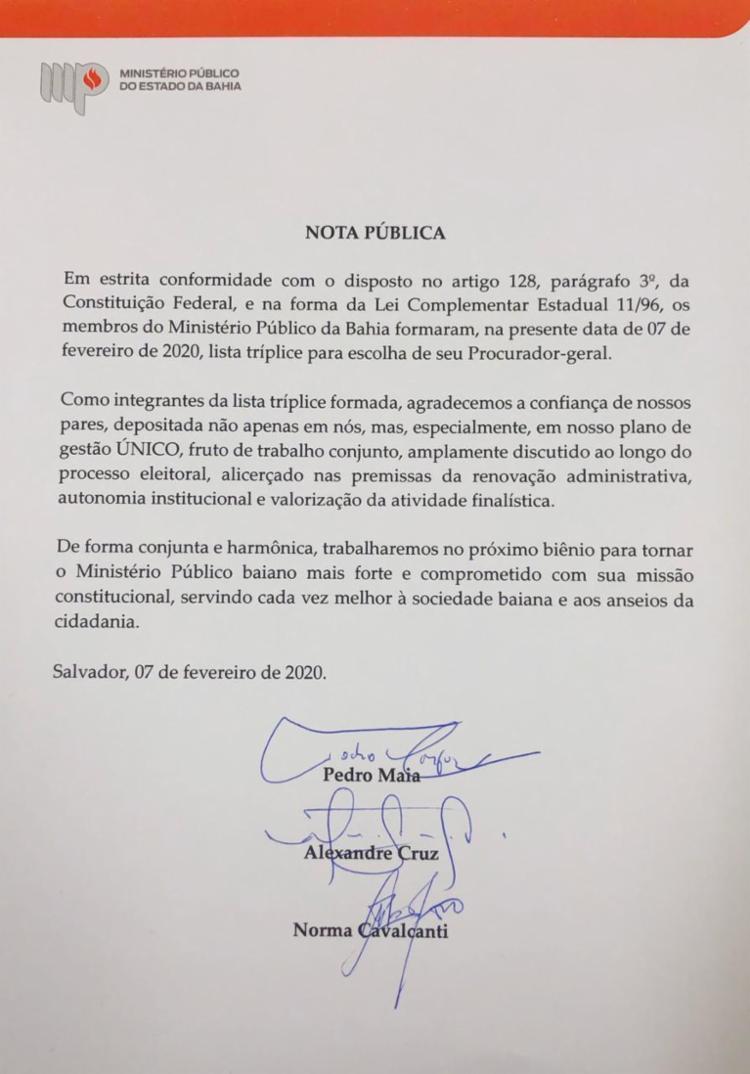 Integrantes fizeram agradecimentos através de nota pública | Foto: Divulgação | MP-BA