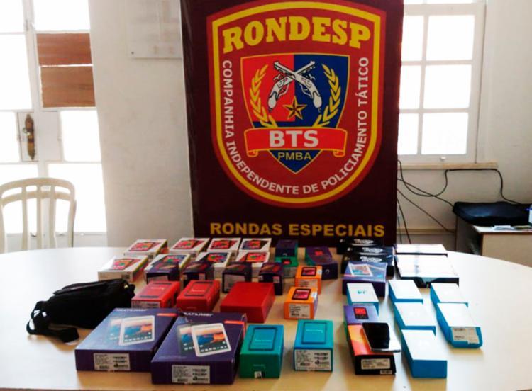 Ao todo, mais de quarenta eletrônicos ainda nas caixas foram recuperados   Foto: Divulgação   SSP-BA - Foto: Divulgação   SSP-BA